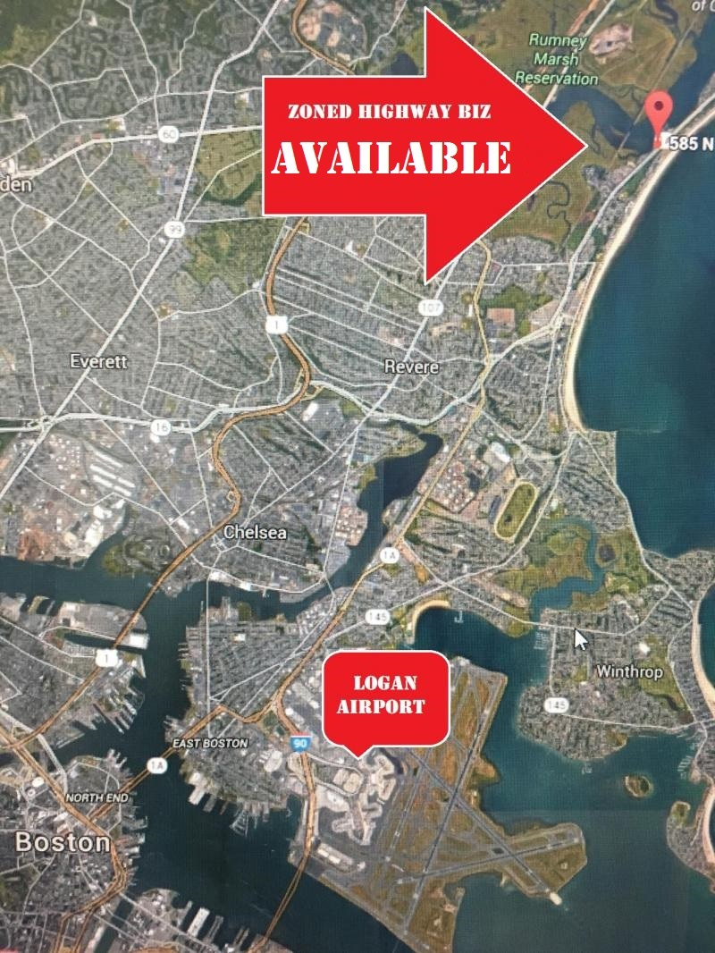 Highway zoned commercial building land for rent lease sale in revere ma