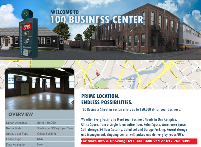 Commercial, industrial, Office Space for rent lease in Hyde Park, Boston, Mass